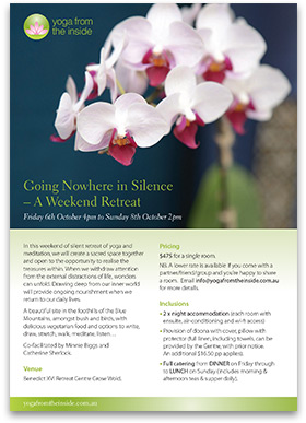 Download our brochure for 'Going Nowhere in Silence – A Weekend Retreat'
