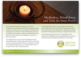 Download our brochure 'Meditation, Mindfulness & Tools for Inner Peace'